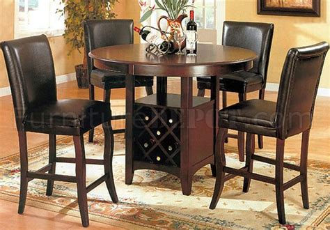 kitchen table wine storage dark cherry finish contemporary dinette w wine rack base table