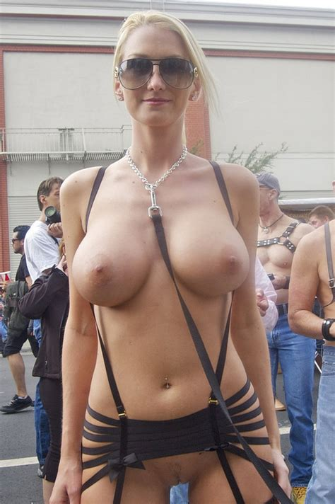 Hot Blonde Woman Topless At Public Parade Photo