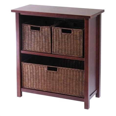 storage bookcase with baskets winsome milan 3 tier medium shelf w 3 wired baskets