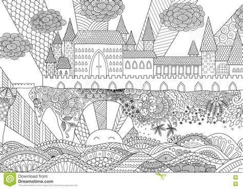 zendoodle castle landscape  background adult coloring