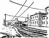 Coloring Electric Train Railroad sketch template