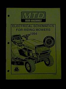 Mtd Lawn Tractor    Riding Mower Electrical Schematics 1994