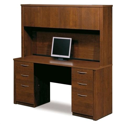 wood desk with hutch bestar embassy home office double pedestal wood computer
