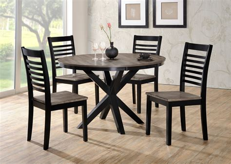 rc willey dining table ebony and gray contemporary 5 piece round dining set