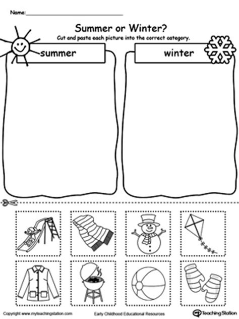 Sorting Summer And Winter Seasonal Items Myteachingstationcom