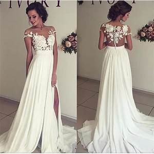 See through lace wedding dress beach wedding gown sexy for Prom dress as wedding dress