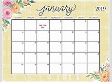 January 2019 Monthly Calendar Calendar Template Printable