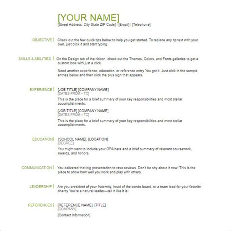 Basic Exle Resume by 118 Resume Templates Word Excel Pdf Documents Creative Template