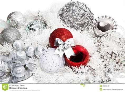 christmas red  silver decorations stock photo image