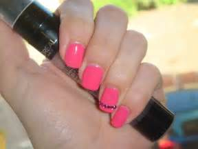 Beautifulyouworld easy barbie pink nail design with