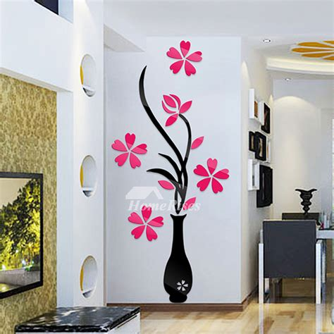 flower wall stickers acrylic   adhesive home decor