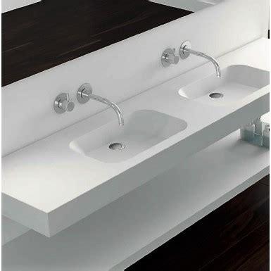 plan double vasque blanc  suspendre mat code  solid