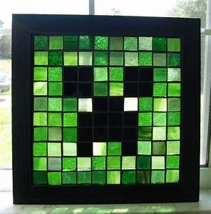 SALE Mosaic Creeper Minecraft Stained Glass Geekery Wooden