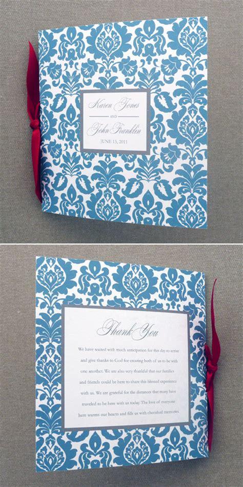 wedding program template 4 page rococo square booklet print