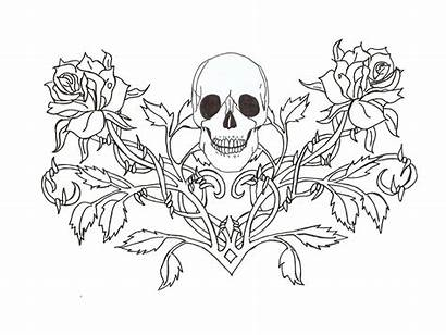 Gothic Tattoo Skull Roses Designs Outline Coloring