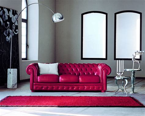 attractive red leather sofa  interior living room