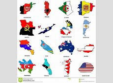 World Flag Map Sketches Collection 01 Stock Illustration