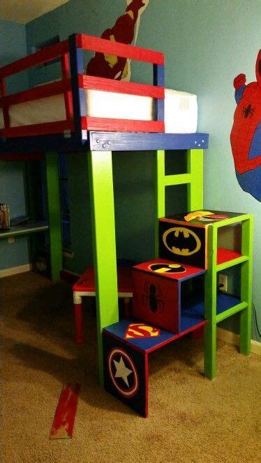 Superhero Bunk Bed  Latched Rail Desk Steps