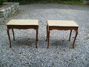 Pair italian marble top end tables c1920 item 7246 for for Antique marble coffee table and end tables