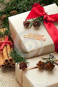 Christmas Gift Boxes And Decorations Rustic Style Stock