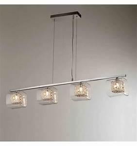 Suspension Luminaire En Verre Transparent : suspension barre chrom e 4 lumi res ~ Teatrodelosmanantiales.com Idées de Décoration