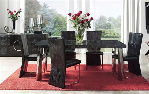 black eco leather modern formal dining room table wchrome