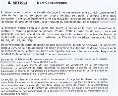 clause de non concurrence exemple toucher l indemnit 233 de la clause de non concurrence