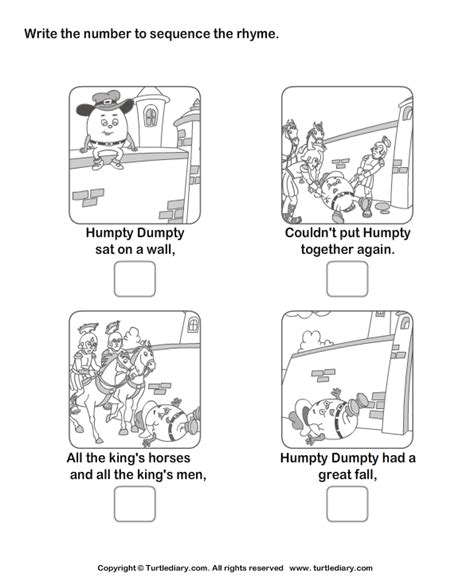 Story Sequencing Humpty Dumpty Worksheet  Turtle Diary