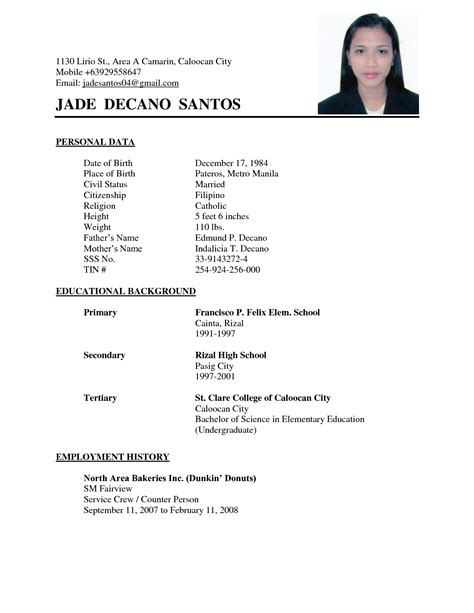 exles of resumes cv format basic for a resume exle