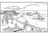 Coloring Pages Landscapes Tropical Paradise Island Adults Beach Landscape Adult Summer sketch template