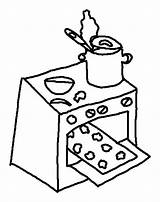 Oven Coloring Pages Cookies Baking Kitchen Drawing Stove Template Getdrawings Sketch Place Clipartmag sketch template