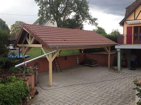 carport avec couverture vieilli bourgogne abt construction bois