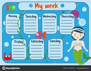 kids timetable with cute mermaid character weekly planner With weekly schedule template for kids