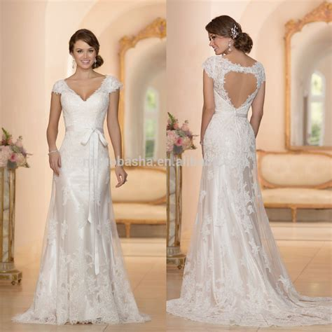 Beautiful Alibaba A Line Wedding Dress 2015 Custom Made V