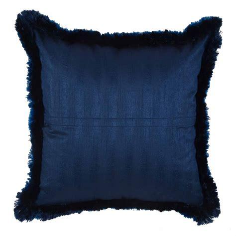 3 Cushion Cover by Solid Fringe Cushion Cover Blue 18 215 18 Ishatvam