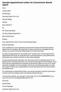 Sample Letter Of Payment Agreement Appointment Letter For Commission Based Agent Hr Letter
