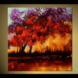 landscape painting colorful blooming trees home decor forest 5786