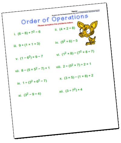 Math Worksheets Order Of Operations  Exponents And Radicals Worksheets Order Of Operations By