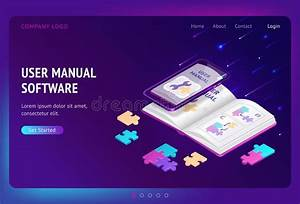 User Guide Isometric Landing Page  People And Book Stock
