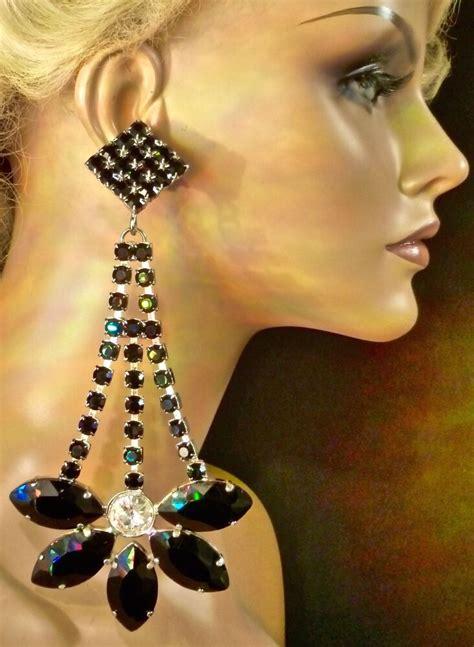 large chandelier earrings large jet black chandelier earrings drag