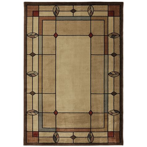 shop mohawk home leaf point multi rectangular brown geometric woven area rug common  ft