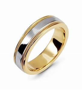 Modern Two Tone Ring 14k White Yellow Gold Wedding Band