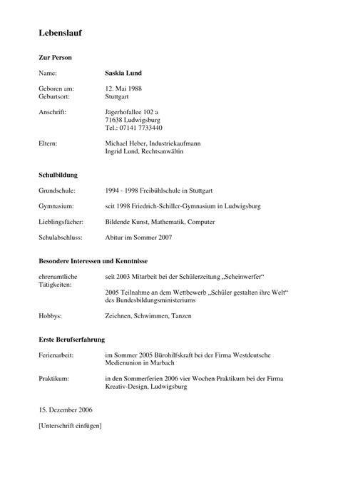 Lebenslauf Schüler by Lebenslauf Muster Kostenlos F 252 R Sch 252 Ler Lebenslauf Beispiel
