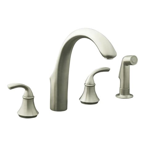 polished nickel kitchen faucet shop kohler forte vibrant brushed nickel 2 handle high arc