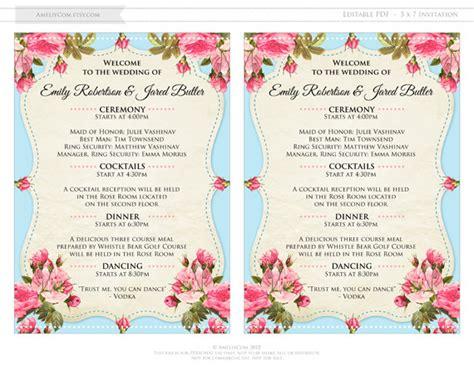 shabby chic wedding programs printable programs teal pink rose shabby chic by ameliycom