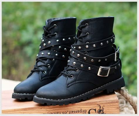 womens biker boots fashion womens motorcycle boots combat flat biker slip on buckle