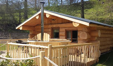 Log Cabin Tub by Log Cabins Accommodation Mountain Edge Shropshire