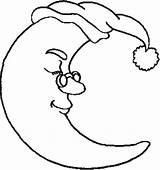 Moon Coloring Half Glassess Wearing Template Sky sketch template