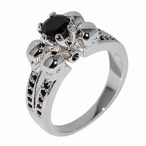 vintage black sapphire skull jewelry halloween ring anel With skull wedding rings for women