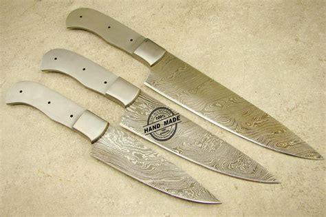 Lot Of 3 Pcs Professional Chef Knife Blank Blade Custom